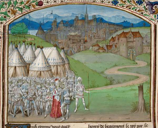 Royal 15 E. IV f.316v Queen Isabella and her army with the quartering of the body of Hugh le Despenser in the background, illustration from 'Chroniques d'Angleterre', c.1470-80 (vellum)