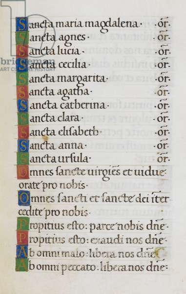 Text page; Litany of saints