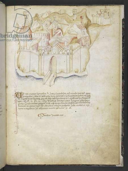 Add MS 15691 'Joachimi Abbatis de Curatio, et Anselmi, Episcopi Marsicani, Vaticinia xxx de Pontificibus Romanis; scil., a Nicolao III. ad Innocentium VIII', c.1500 (ink & colour on vellum)