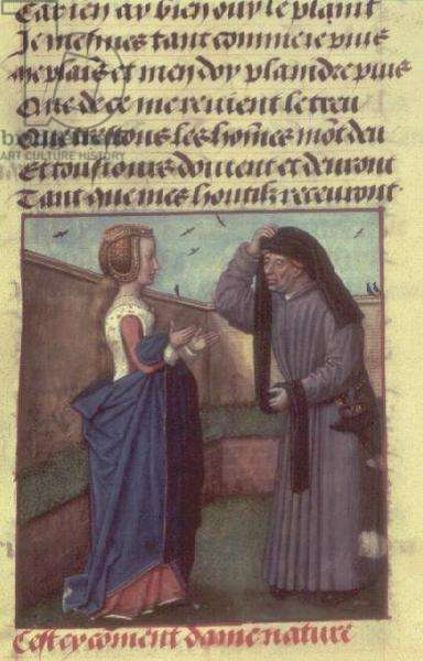 Harl 4425 f.166 Dame Nature gives her orders to Genius, from the 'Roman de la Rose', Bruges, c.1490-1500 (vellum)