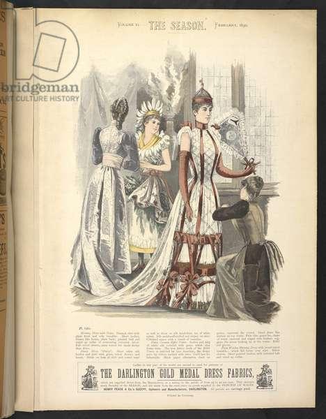 "Plate 818,  Evening dress with train,  Fancy dress ""Daisy, "" Fancy costume Eiffel Tower,  Plain woollen dress, The Season : Lady's illustrated magazine, 1890"