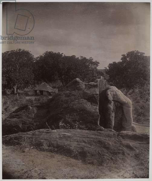 Sculptured elephant on top of rock with Asoka inscriptions, Dhauli, Puri District, 1895 (albumen print)