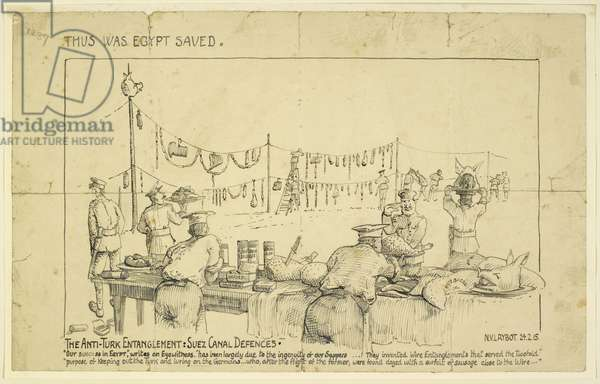 'Thus Was Egypt Saved', The Anti-Turk Entanglement: Suez Canal Defences, 1915 (ink on paper)