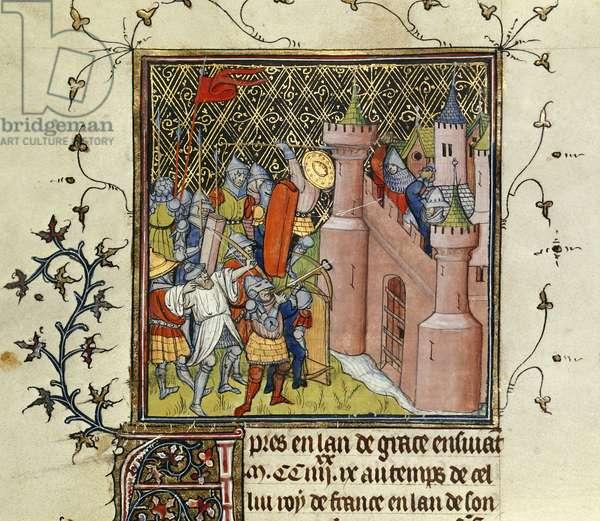 Siege of Acre, from 'Chroniques de France ou de St. Denis' (vellum)