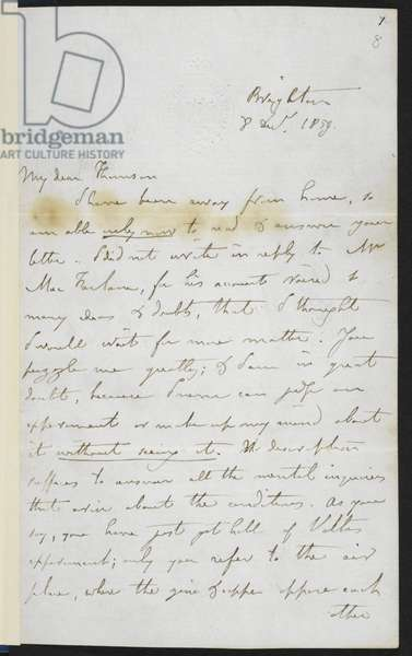 Add.48983 f.8 Faraday's telegraphy letter to William Thomson, 1859 (ink on paper)