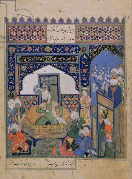 Or.2838 f.20v Timur enthroned at Balkh, Persian (vellum)