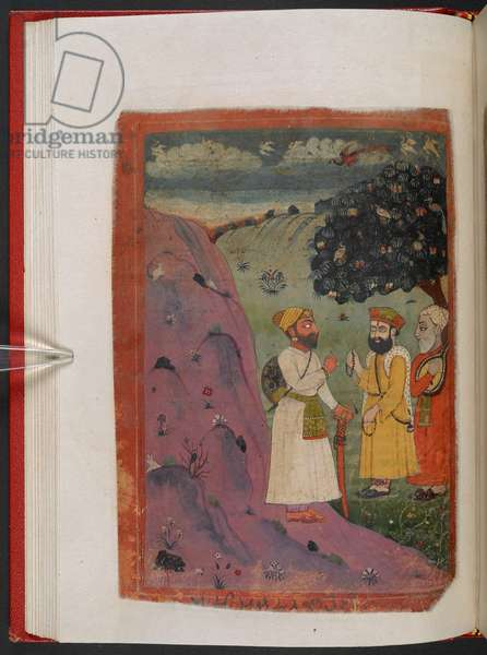 MS Panj B 40, f.38v, A traveller meets Guru Nanak and will become a disciple, illustration from the 'Biography of Guru Nanak', 1733 (vellum)