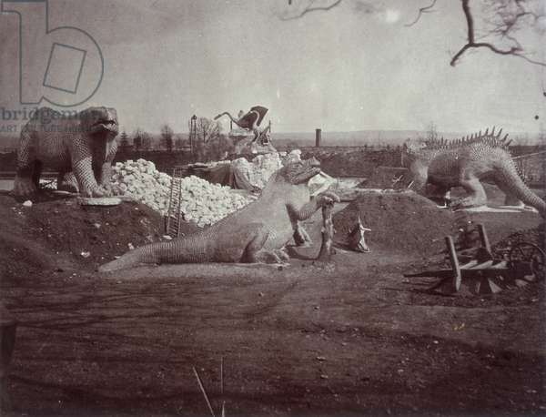 Models of Dinosaurs, from  'Photographic views of the Progress of the Crystal Palace, Sydenham', 1855 (b/w photo)