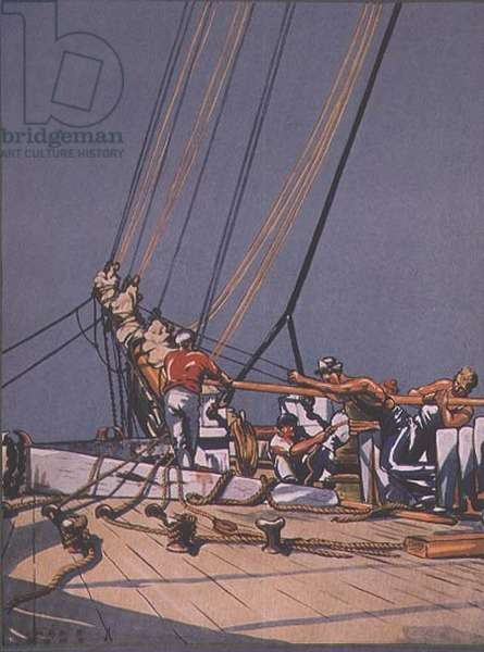 'Warping Her Ahead', front cover of Yachting Magazine, November 1932 from a painting by Charles E. Font