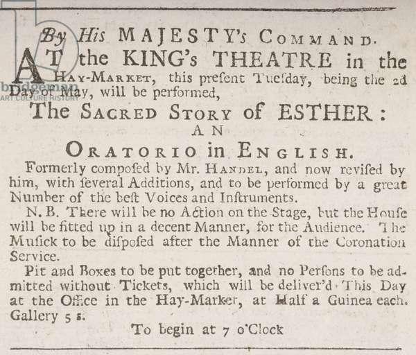 Playbill for Handel's Esther, 1732 (print)