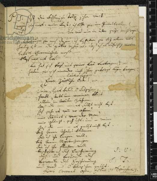 Zweig 67 f.1v Letter to Maria Anna Thekla Mozart, 1779 (ink on paper)