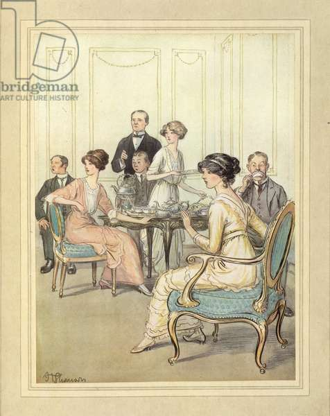 Having tea, from 'The Admirable Crichton' by J. M. Barrie, 1914 (colour litho)