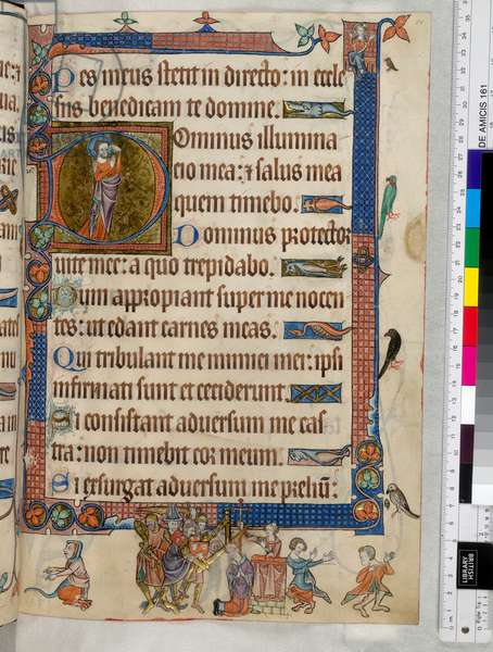 The martyrdom of the popular English saint, Archbishop Thomas Becket from the 'Luttrell Psalter'. c.1325 (vellum)