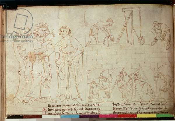 Cott Nero D I fol.23v The Building of Clifford's Tower, from the 'Lives of the Offas' by Matthew Paris (1200-59) c.1250-54 (vellum)