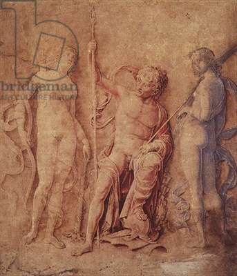 Mars, Diana and Iris (?) 1446-1506 (pen and brown ink, with brown, red and blue wash, heightened with white, on paper discoloured brown)