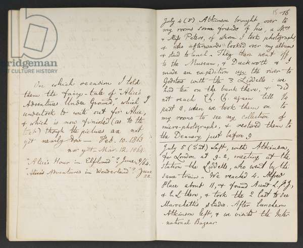 Vol IV of Lewis Carroll's diaries, 1863-64 (pen and ink on paper)