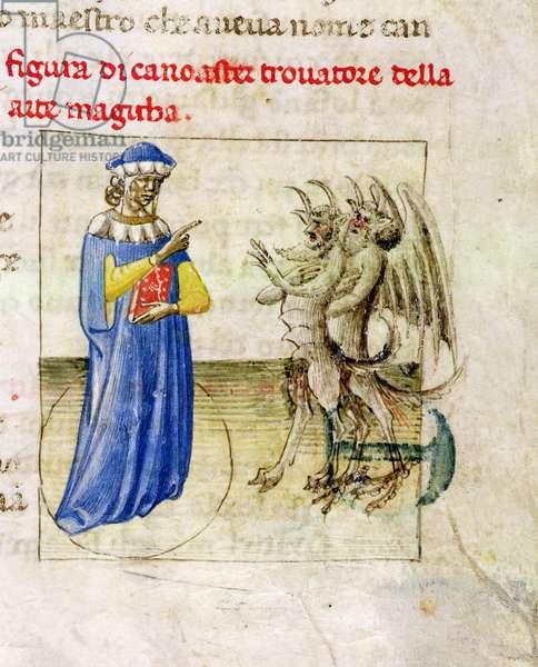 Yates Thompson 28, f.51 miniature of Zoroaster with two demons, from Pseudo-Aristotle's Secreta secretorum, 1425