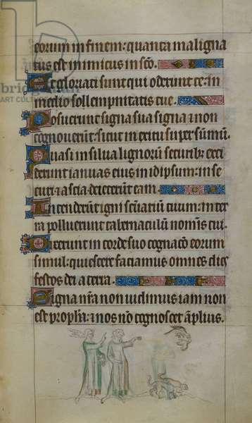 Royal 2 B.VII, f.178 Text with Bas-de-page scene of two men and two women in a row, holding ribbons, illustration from the 'Queen Mary Psalter', 1310-20 (vellum)