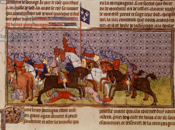 Ms Roy 20 C VII fol.20v Death of the King of Aragon, late 14th century (vellum)
