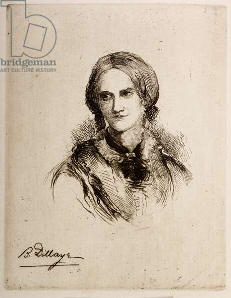 Portrait of Charlotte Bronte from the novel Jane Eyre.