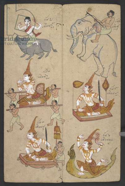 Or 16455 f.14r, Animals from the Zodiac, from Phrommachat (parchment)