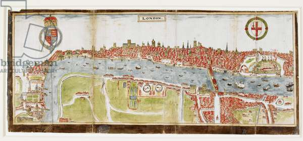 Sloane 2596, f.52 View of London from the south, showing the River Thames, London Bridge and the Tower, 1588 (velllum)