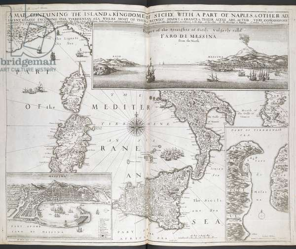 Map of Sicily and Naples, 1680 (engraving)