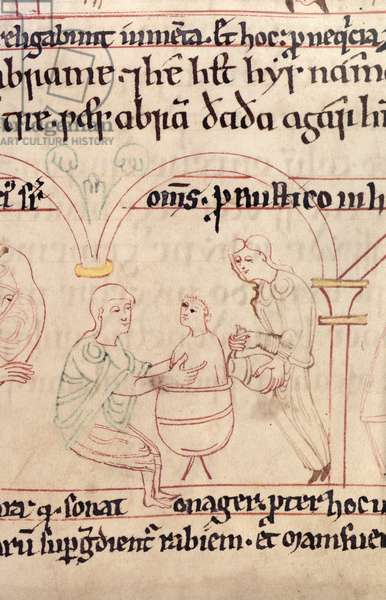 Cott Claud B IV f.28 The infant Ishmael bathed after birth, from the Aelfric Pentateuch, from St. Augustine's, Canterbury, 1025-50 (vellum)