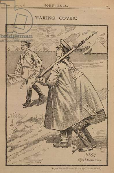 'Taking cover'. A cartoon on the subject of conscientious objectors.