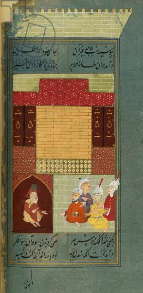 The sandalwood merchant sits disguised among his adversaries listening to the advice of the old blind man