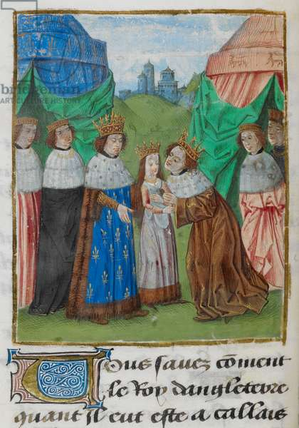 King Richard II of England receiving his bride, Isabella, from her father, King Charles VI of France, illustration from 'Chroniques de France et d'Angleterre',
