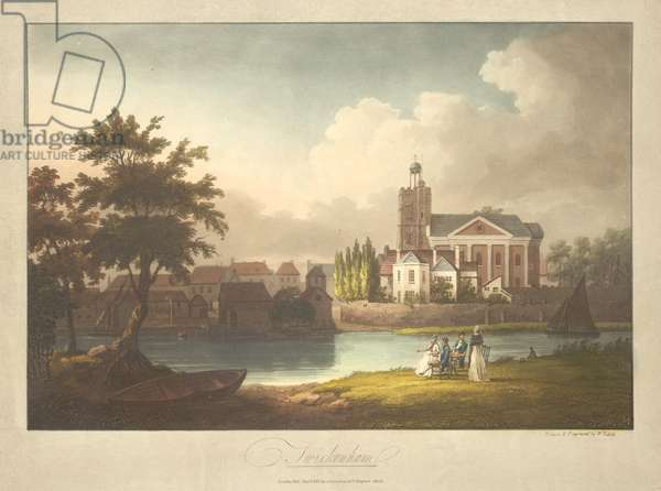 Elegant figures sitting by a river; a boat on the shore beneath a tree; a sailing boat on the right-hand side; buildings on the opposite bank