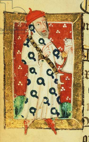 Cott Nero D VII f.105v Nigel Lorning, Knight of the Garter, from the Benefactors Book of St. Alban's Abbey, c.1380 (vellum)