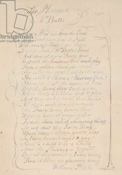 'The Phoenix to Mrs Butts', a calligraphically written poem attributed to Blake
