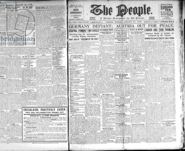 'Germany Defiant: Austria Out for Peace', Front page of 'The People', Sunday 27th January 1918 (newsprint)