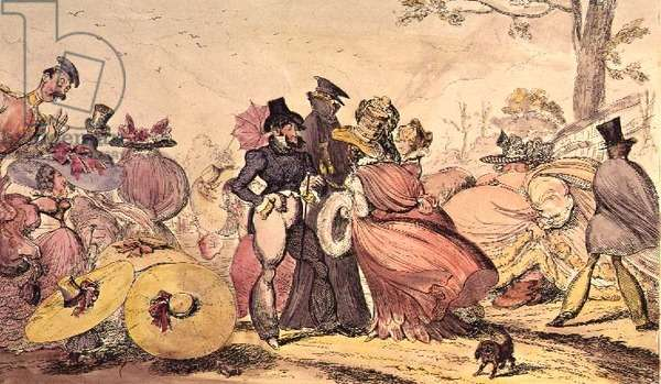Monstrosities of 1825 and 1826. (Satirical Cartoon of 19th c. English Fashions)