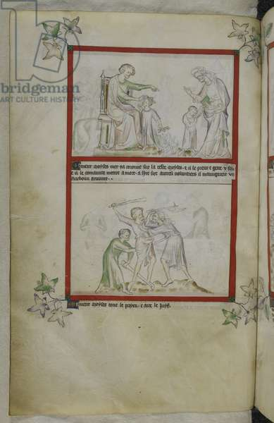 Royal 2 B VII f.23v Moses slays the Egyptian who had attacked a Jew, from 'Queen Mary's Psalter' (vellum)