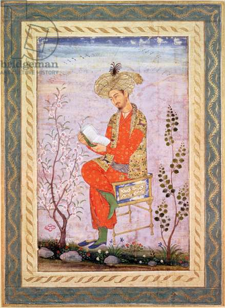 Babur (r.1526-30) Reading, Mughal (w/c on paper)
