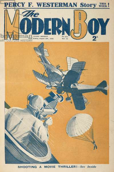 Front cover. 'Shooting a movie thriller.' Two aircraft colliding. The Modern Boy6 August 1932