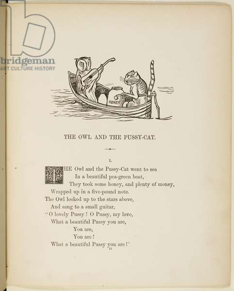Illustration of the owl and the pussycat in their boat, from a book of verse with illustrations. Verse and illustrations from A Book of Nonsense by Lear.