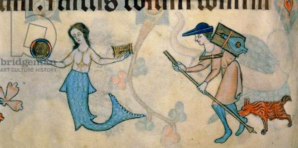 Add 42130 f.70v Border detail of a mermaid and a tinker, from the 'Luttrell Psalter', c.1325-35 (vellum)