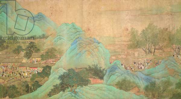 Emperor Kang Shi's tour of Kiang-Han in 1699, after Chaio Ping Chen (1661-1722) (ink & colour on silk backed paper)