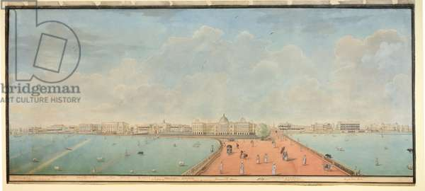 A view of Government House and Esplanade Row, Calcutta, from the Maidan, 1830 (w/c on paper)