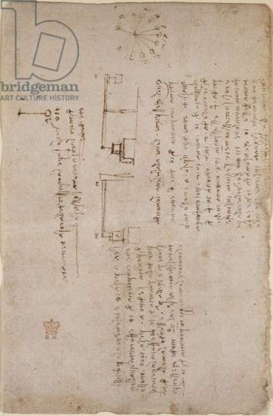 Arundel 263, f.281v Notes and sketches on mechanics (side-on), from 'Codex Arundel', 1500-05 (pen & ink on paper)