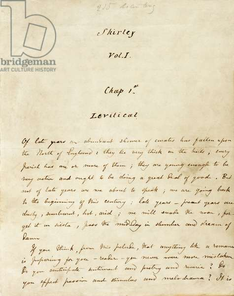 """Premiere page du Volume 1 du manuscrit de """"""""Shirley"""""""", ecrit par Charlotte Bronte (1816-1855) vers 1849. Chapitre 1 intitule """"""""Levitical"""""""" presentant les vicaires Monsieur Donne, M. Malone and M. Sweeting qui explique le titre """"""""Levites"""""""" faisant reference au pretre d'Israel : """"""""Of late years, an abundant shower of curates has fallen upon the north of England: they lie very thick on the hills; every parish has one or more of them; they are young enough to be very active, and ought to be doing a great deal of good"""""""".  The British Library. Institution Reference: Shelfmark ID: Add 43477 Folio No: 1 ©The British Library Board/Leemage"""