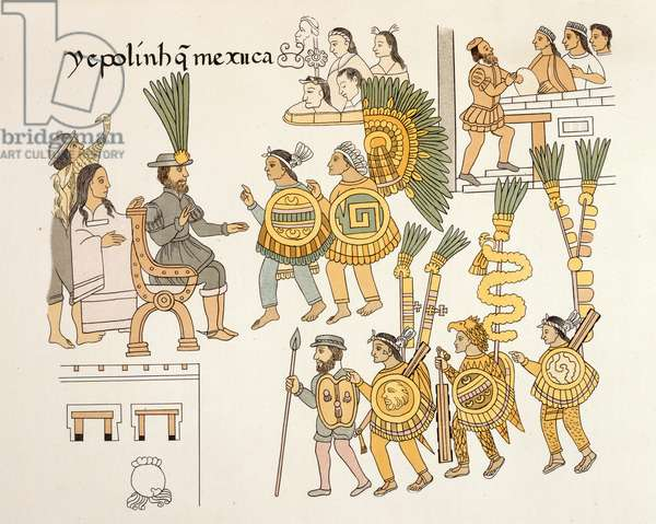 Now the Mexica [Aztecs] were finished. (A translation of text on the image). The 11th and last Aztec emperor, Cuauhtémoc, surrenders on August 13, 1521, and is presented to Hernán Cortés at the latter's headquarters in the house of Aztacoatzin.