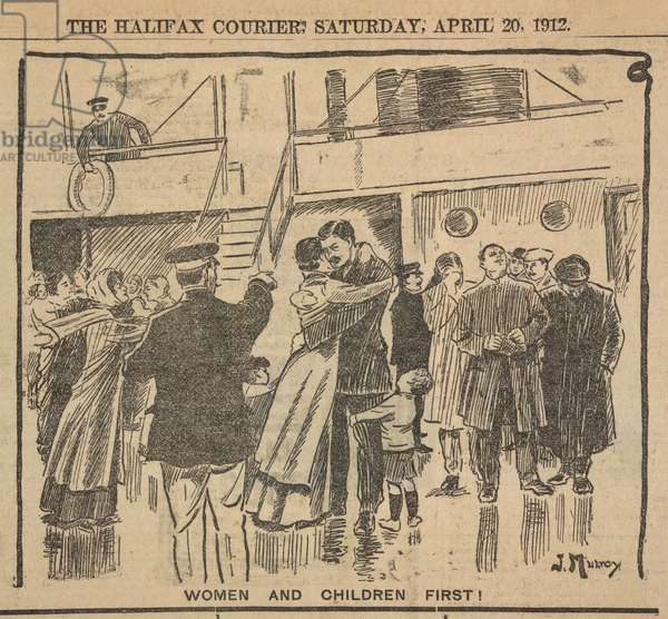 'Women and Children first !'. An illustration from a newspaper depicting the passengers on the Titanic on the night of the disaster.