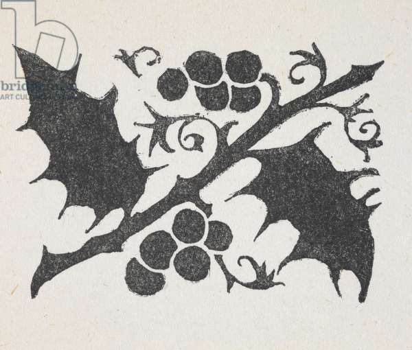 Black and white print of holly leave and berries