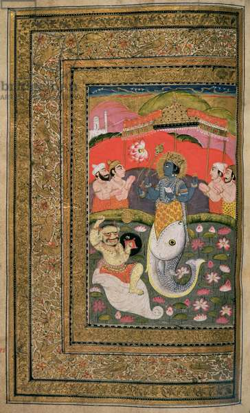 OR 11835 fol.297v Incarnation of Vishnu as a fish from a devotional text, Kashmir (gouache on paper)