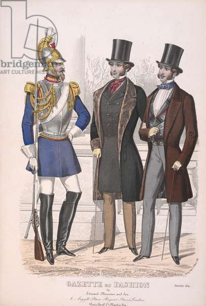 A guardsman and two civilians, wearing coats and top hats.